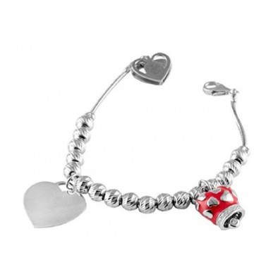 Silver bracelet with Heart...