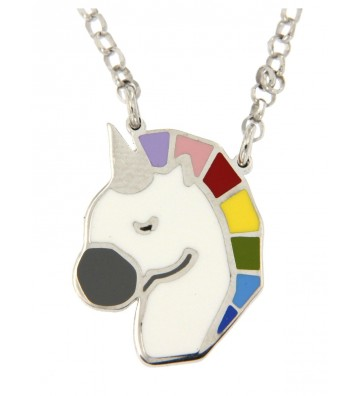 Collana in Argento 925/000 con Unicorno Smaltato Multicolor 	ART18