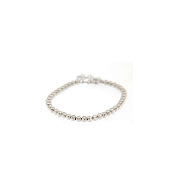 BRACCIALE CON BOULE 4MM IN ARGENTO RODIATO 925/000 ART.b233
