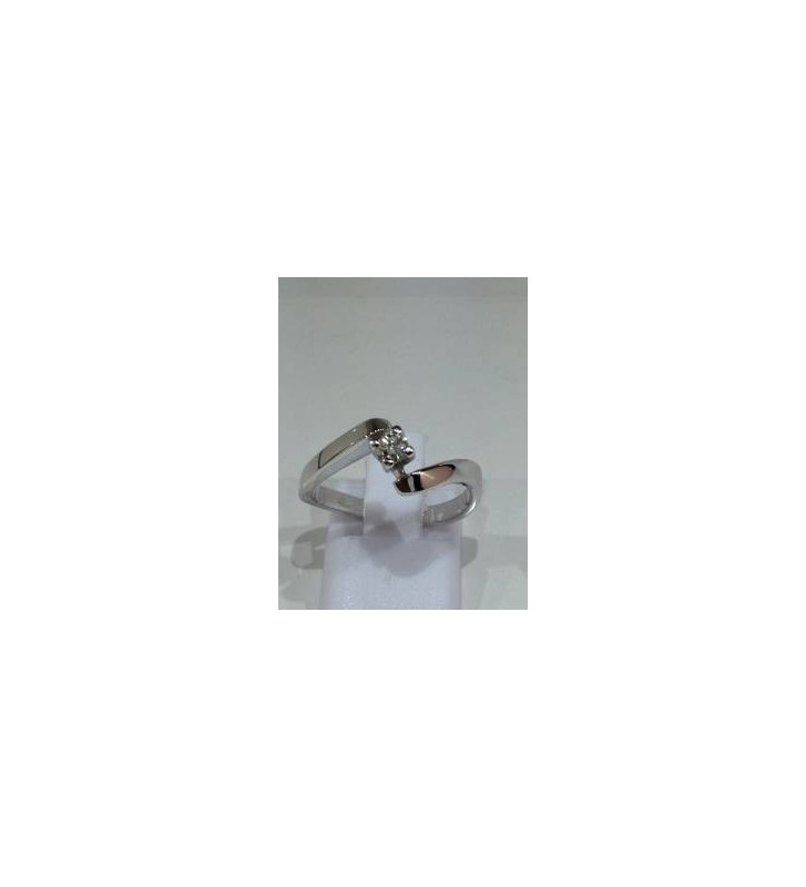 ANELLO SOLITARIO IN ORO BIANCO 18 CT 750/000 CON DIAMANTE NATURALE TAGLIO BRILLANTE CT,0,10