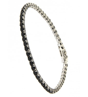 copy of BRACCIALE UOMO IN ARGENTO RODIATO MOD. TENNIS18/21CM CON ZIRCONIA NERI MM 3