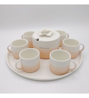 Set 6 Cups With Sugar and Tray