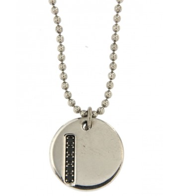 Silver men's necklace Black...