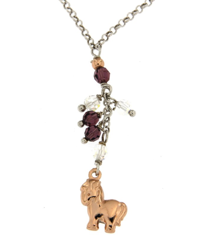 Collana in Argento 925/000 Garantito con Charms Pony e Pietre Colorate Fashionist Style❤